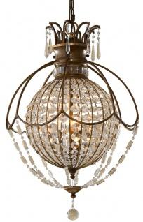 Casa Padrino Barock Hängeleuchte mit Kristallglas Bronze Ø 45, 7 x H. 70 cm - Prunkvolle Hängelampe im Barockstil - Edel & Prunkvoll