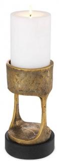 Casa Padrino Luxus Kerzenhalter Vintage Messingfarben / Schwarz Ø 13 x H. 24 cm - Messing Kerzenständer mit Granitsockel - Deko Accessoires