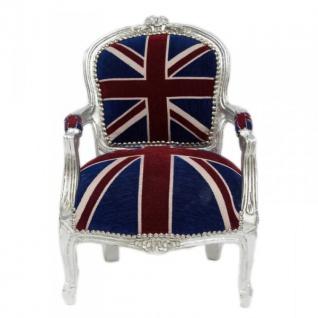Casa Padrino Barock Kinder Stuhl Union Jack / Silber - Kindermöbel