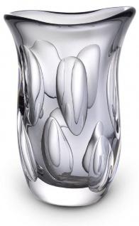 Casa Padrino Luxus Deko Glasvase Grau 20 x 13 x H. 30 cm - Elegante Blumenvase aus mundgeblasenem Glas - Deko Accessoires