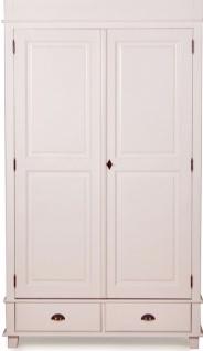 Casa Padrino Landhausstil Schrank Antik Weiß 120 x 60 x H. 250 cm - Zweitüriger Schrank mit 2 Schubladen im Landhausstil