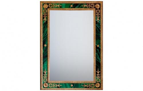 Casa Padrino Luxus Barock Spiegel Malachit / Gold - Handgefertigter Wandspiegel im Barockstil - Grün Antik Stil