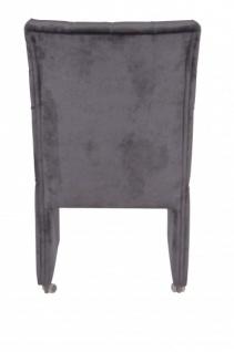 Casa Padrino Designer Esszimmer Stuhl / Sessel ModEF 320 Schwarz Samt - Hoteleinrichtung - Sessel auf Rollen - Vorschau 4