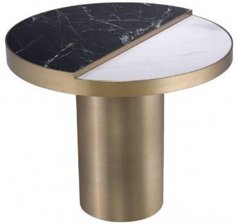 Casa Padrino Luxus Beistelltisch Schwarz / Weiß / Messingfarben Ø 55 x H. 55, 5 cm - Runder Edelstahl Tisch mit 2 halbrunden Keramikplatten - Wohnzimmer Möbel - Luxus Möbel