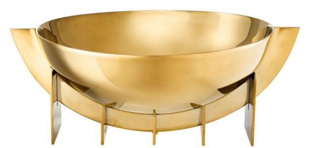 Casa Padrino Luxus Edelstahl Schale Gold 30 x 25 x H. 11, 5 cm - Obstschale Schüssel - Hotel & Restaurant Deko Accessoires - Vorschau 2