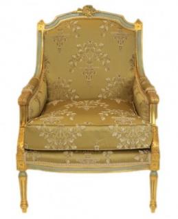 Casa Padrino Barock Lounge Thron Sessel Empire Gold Muster - Ohren Sessel - Ohrensessel Tron Stuhl - Vorschau 2