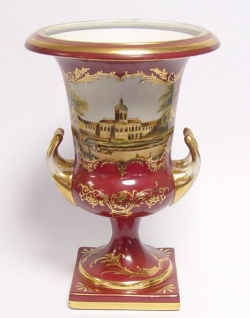 Casa Padrino Porzellan Vase mit 2 Griffen rot gold - Limited Edition