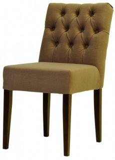 Casa Padrino Designer Esszimmer Stuhl Model EF 283 Khaki / Braun - Hoteleinrichtung - Buchenholz - Chesterfield Design - Vorschau 2