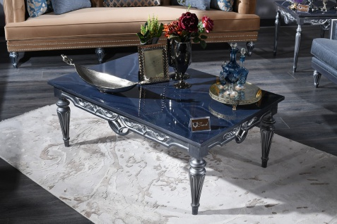 Casa Padrino Luxus Barock Couchtisch Blau / Silber 143 x 94 x H. 44 cm - Wohnzimmertisch im Barockstil