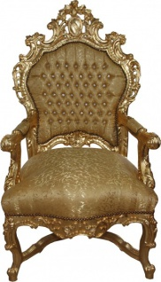 Casa Padrino Barock Luxus Thron Sessel Gold Muster/Gold mit Bling Bling Glitzersteinen - Unikat - Barock Möbel Thron Königssessel - Limited Edition