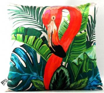 Casa Padrino Wohnzimmer Kissen New Orleans Flamingo Mehrfarbig 45 x 45 cm - Feinster Samtstoff - Luxus Deko Accessoires