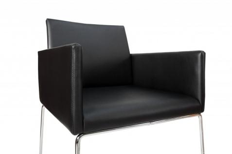 Casa Padrino Designer Stuhl Schwarz mit Armlehnen 55cm x 80cm x 60cm - Büromöbel - Vorschau 4