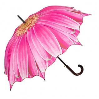 MySchirm Designer Regenschirm mit Blumenmotiv in kräftigem pink - Eleganter Stockschirm - Luxus Design - Automatikschirm - Vorschau 1
