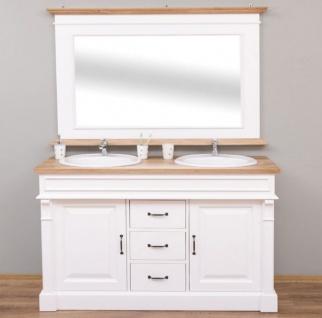 Casa Padrino Landhausstil Badezimmer Set Weiß / Naturfarben - 1 Doppelwaschtisch & 1 Wandspiegel - Massivholz Badezimmermöbel im Landhausstil