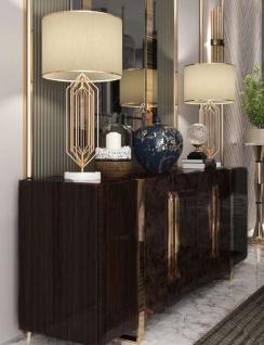 Casa Padrino Luxus Art Deco Sideboard Dunkelbraun Hochglanz / Gold - Edler Wohnzimmer Schrank mit 6 Türen - Art Deco Möbel