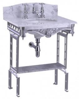 Casa Padrino Luxus Jugendstil Stand Waschtisch Weiß / Aluminium mit Marmorplatte mit Spritzschutz hinten und Ablage Barock Waschbecken Barockstil Antik Stil