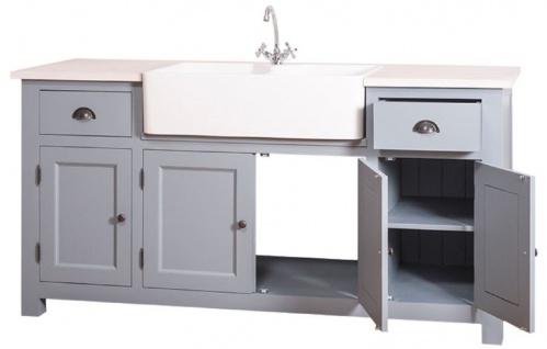 Casa Padrino Landhausstil Waschbeckenschrank Blau / Weiß 180 x 65 x H. 90 cm - Waschtisch mit 4 Türen und 2 Schubladen - Vorschau 4