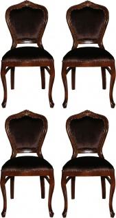 Casa Padrino Luxus Barock Esszimmer Set Braun / Braun 45 x 46 x H. 99 cm - 4 handgefertigte Esszimmerstühle - Barock Esszimmermöbel