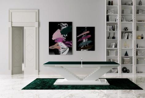 Casa Padrino Luxus Designer Indoor Tischtennisplatte Grün / Hochglanz Weiß 274 x 152, 5 x H. 76 cm - Hotel Kollektion - Luxus Qualität