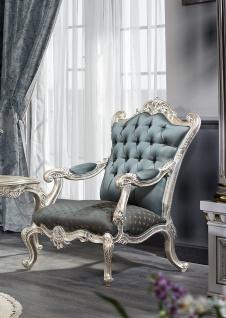 Casa Padrino Luxus Barock Wohnzimmer Set - 1 Chesterfield Sofa & 1 Chesterfield Thron Sessel & 1 Beistelltisch - Barock Wohnzimmermöbel - Vorschau 3