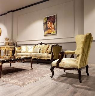 Casa Padrino Luxus Barock Ohrensessel Gold / Mehrfarbig / Schwarz - Prunkvoller Wohnzimmer Sessel mit elegantem Muster - Barock Möbel - Vorschau 2
