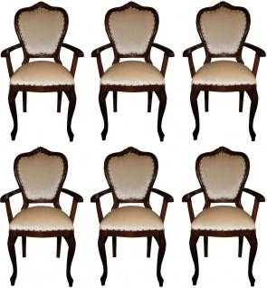 Casa Padrino Luxus Barock Esszimmer Set Creme / Braun 60 x 47 x H. 99 cm - 6 handgefertigte Esszimmerstühle mit Armlehnen - Barock Esszimmermöbel