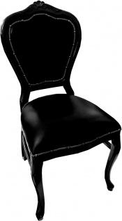Casa Padrino Barock Luxus Echtleder Esszimmer Stuhl Schwarz / Schwarz - Handgefertigte Möbel mit echtem Leder
