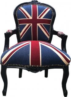 Casa Padrino Barock Salon Stuhl Union Jack Design / Schwarz