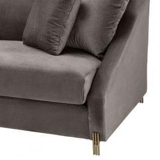 Casa Padrino Luxus Samtsofa Grau / Messingfarben 223 x 94 x H. 73 cm - Wohnzimmer Sofa mit 4 Kissen - Luxus Möbel - Vorschau 5