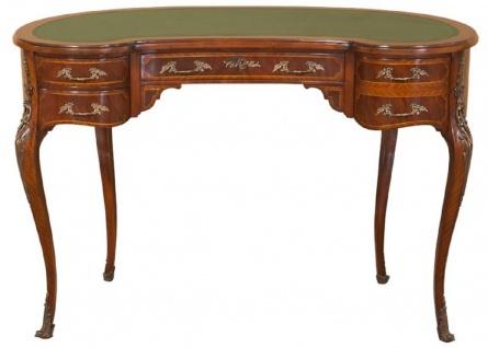 Casa Padrino Luxus Barock Schreibtisch Dunkelbraun / Hellbraun / Grün - Handgefertigter Mahagoni Schreibtisch mit 5 Schubladen - Edle Barock Büro Möbel - Vorschau 2