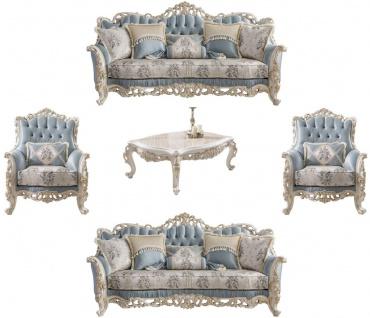 Casa Padrino Luxus Barock Wohnzimmer Set Hellblau / Creme / Weiß / Gold - 2 Sofas & 2 Sessel & 1 Couchtisch - Edle Barock Wohnzimmer Möbel