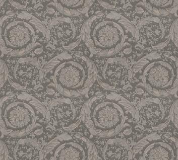 Versace Designer Barock Vliestapete Barocco Flowers 935836 Grau / Silber - Design Tapete - Deko Accessoires