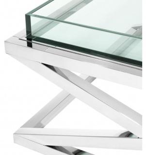 Casa Padrino Designer Couchtisch Silber 100 x 100 x H. 46, 5 cm - Luxus Hotel Möbel - Vorschau 3