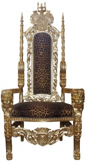 Casa Padrino Barock Thron Sessel Gold / Leopard Königssessel - Hochzeitssessel - Riesensessel
