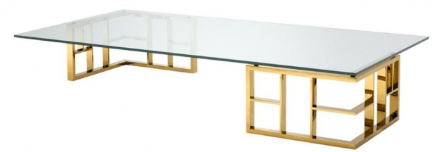 Casa Padrino Luxus Couchtisch Gold 180 x 90 x H. 32, 2 cm - Edelstahl Wohnzimmertisch mit Glasplatte - Designermöbel