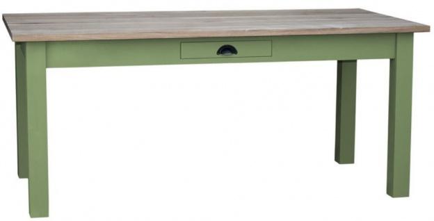 Casa Padrino Landhausstil Esstisch mit Schublade Grün / Naturfarben - Verschiedene Größen - Esszimmermöbel