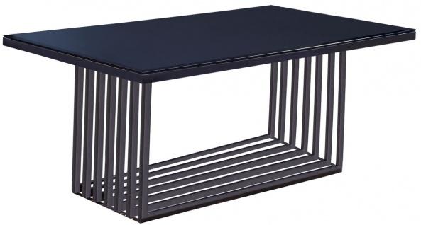 Casa Padrino Luxus Esstisch Silber / Schwarz 200 x 100 x H. 77 cm - Rechteckiger Edelstahl Küchentisch mit Glasplatte - Luxus Esszimmer Möbel