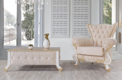 Casa Padrino Barock Couchtisch Beige / Weiß / Gold 100 x 64 x H. 43 cm - Edler Barockstil Wohnzimmertisch mit Glitzersteinen - Barock Möbel - Vorschau 2