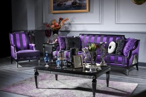 Casa Padrino Luxus Barock Wohnzimmer Set Lila / Schwarz / Silber - 1 Sofa & 1 Sessel & 1 Couchtisch & 1 Beistelltisch - Barockmöbel