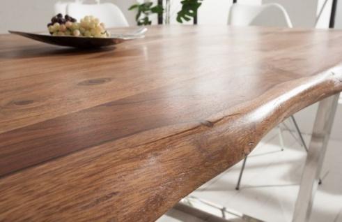 Casa Padrino Designer Esstisch Braun / Silber 200 x 98 x H. 76 cm - Luxus Küchentisch mit massiver Sheesham Holz Tischplatte und polierten Edelstahl Beinen - Vorschau 3