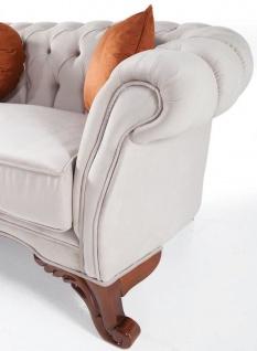 Casa Padrino Luxus Barock Wohnzimmer Sofa mit Kissen Hellgrau / Braun 240 x 102 x H. 80 cm - Barock Möbel - Vorschau 3