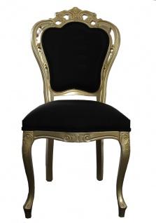 Casa Padrino Luxus Barock Esszimmer Stuhl in Gold/Schwarz - Designer Stuhl - Luxus Qualität