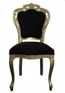 Casa Padrino Luxus Barock Esszimmer Stuhl Schwarz / Gold - Designer Stuhl - Luxus Qualität