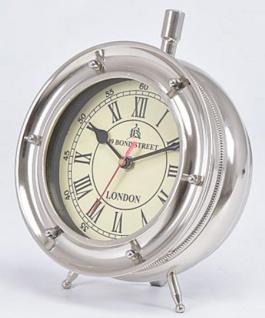 Casa Padrino Luxus Messing Tischuhr Silber 18 x 10 x H. 23 cm - Deko Accessoires