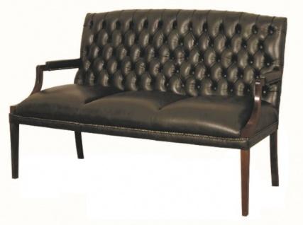 Casa Padrino Chesterfield Echtleder 3er Sitzbank mit Armlehnen Schwarz / Dunkelbraun 180 x 60 x H. 100 cm - Luxus Möbel - Vorschau 2