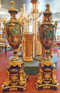 Casa Padrino Barock Keramik Vasen mit Sockel Kobaltblau / Gold 60 x 60 x H. 215 cm - Prunkvolles Deko Set - Hotel & Restaurant Deko Accessoires