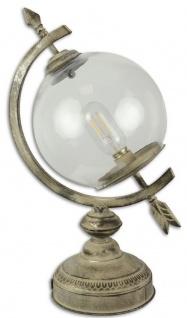 Casa Padrino Jugendstil Tischleuchte Sonnenuhr Antik Cremefarben 26 x 19, 6 x H. 44 cm - Batteriebetriebene Zinn Lampe
