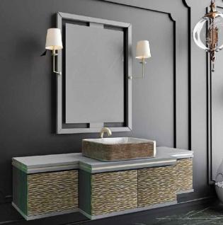 Casa Padrino Luxus Badezimmer Set Grau / Gold / Schwarz - 1 Waschtisch mit 4 Türen und 1 Waschbecken und 1 Wandspiegel mit 2 Wandleuchten - Luxus Kollektion