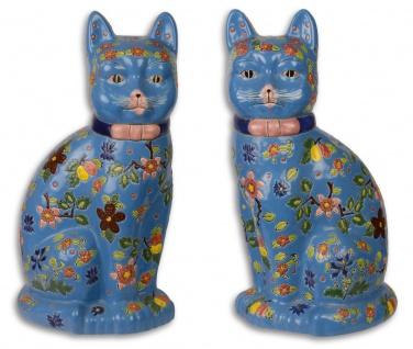 Casa Padrino Porzellan Katzenfiguren Set Blau / Mehrfarbig 20, 2 x 17 x H. 37, 7 cm - Deko Figuren