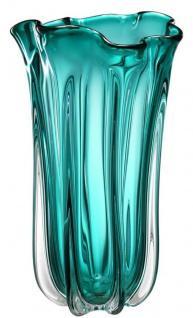 Casa Padrino Luxus Glas Vase / Blumenvase Türkis Ø 19 x H. 34 cm - Deko Accessoires